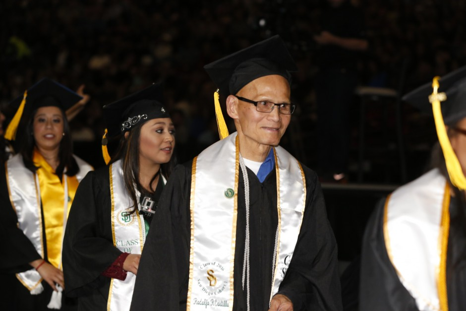Rodolfo Castillo heads to his seat during the Commencement ceremony. (Sacramento State/Jessica Vernone)